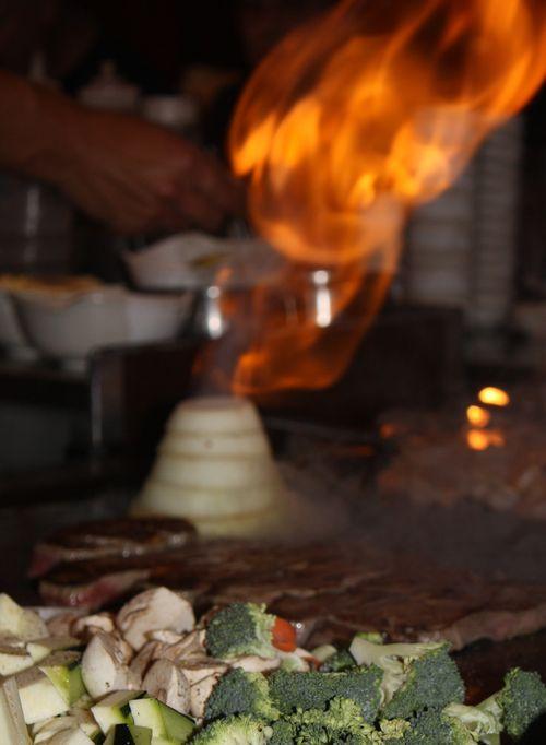 Onion on fire