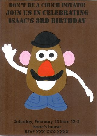 Mr Potato Head invitation