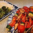Shish Kabobs, Rice, and Steamed Broccoli