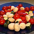 Red Peppers, Mushrooms, Zucchini, and Tomatoes for Shish Kabobs