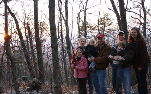 Family on sunset hike