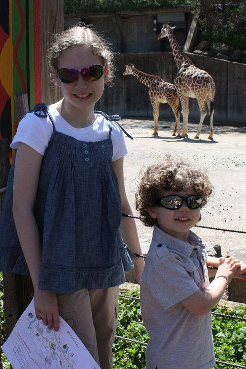 O & i with giraffes