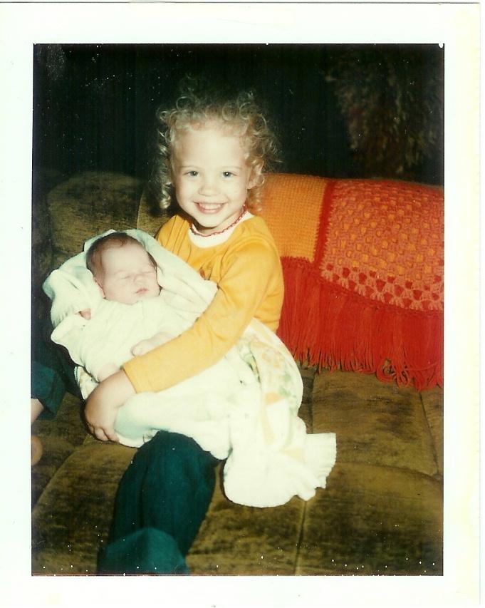 Ashley holding Allison at 6 days old