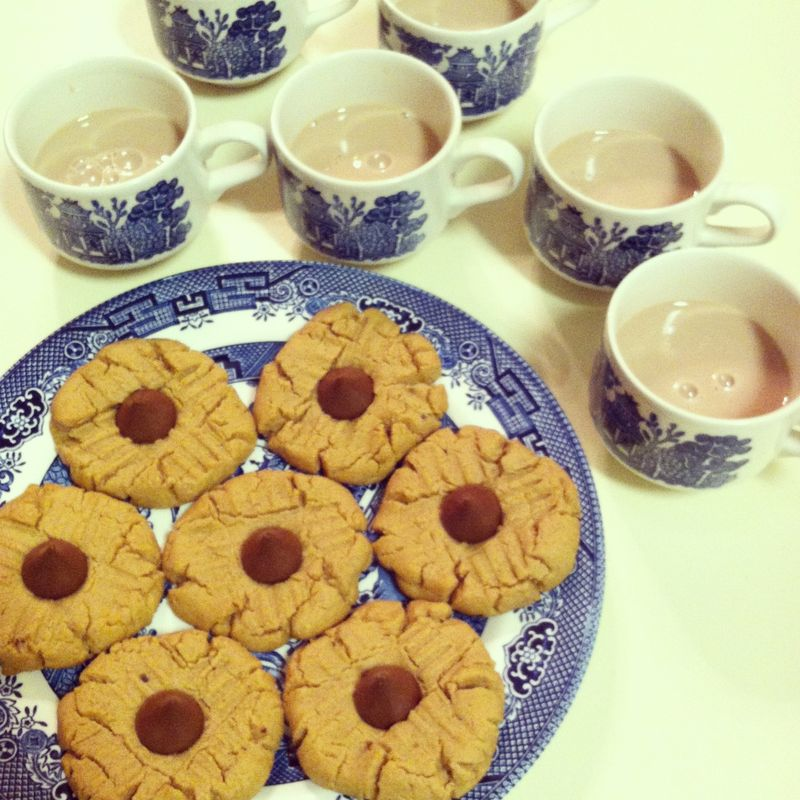 Peanut butter cookies and chocolate milk
