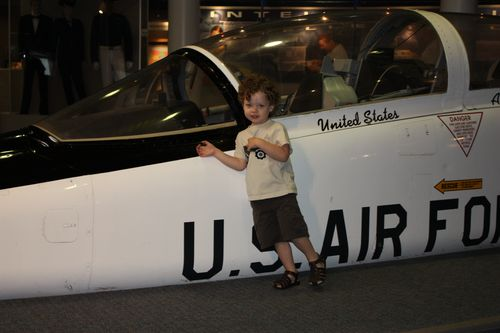Isaac checking out retired plane