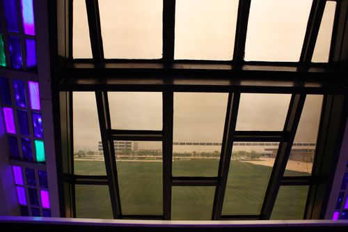 Looking out window in Chapel