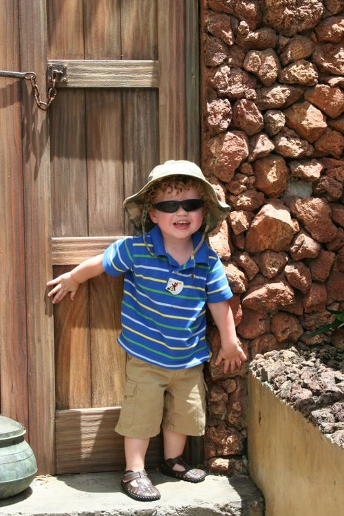 Isaac hanging out in Animal Kingdom's Africa