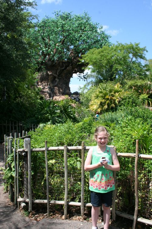 Olivia in front of Tree of Life