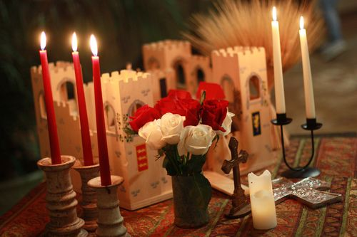 Castle, Candles, and Flowers