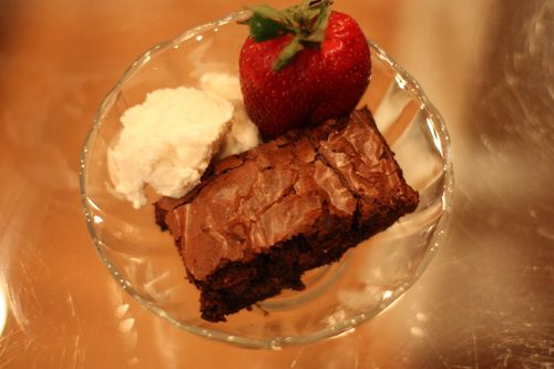 Brownie, Strawberry, and Ice Cream