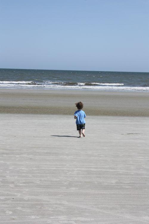 Isaac running to water
