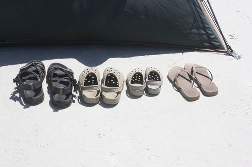 Our shoes outside the tent