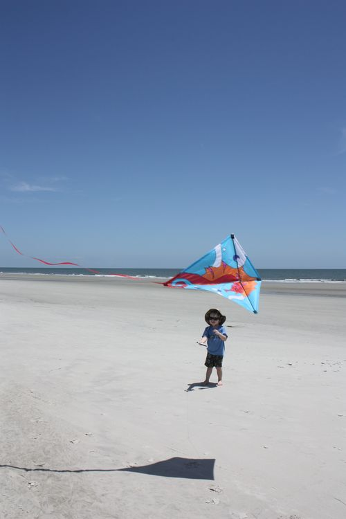 Isaac flying kite