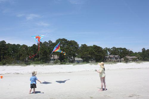 Olivia and Isaac flying kites