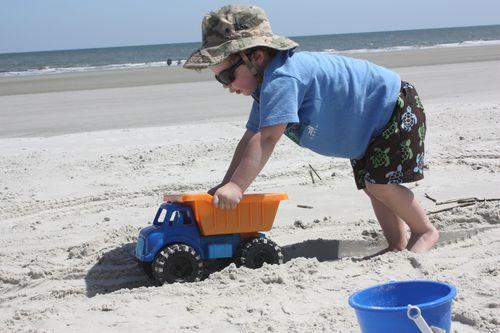 Isaac pushing truck