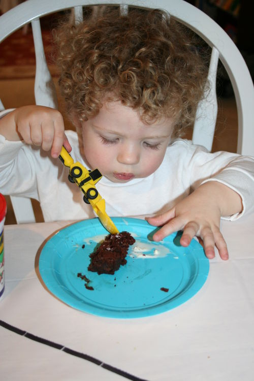 Isaac eating his birthday brownie