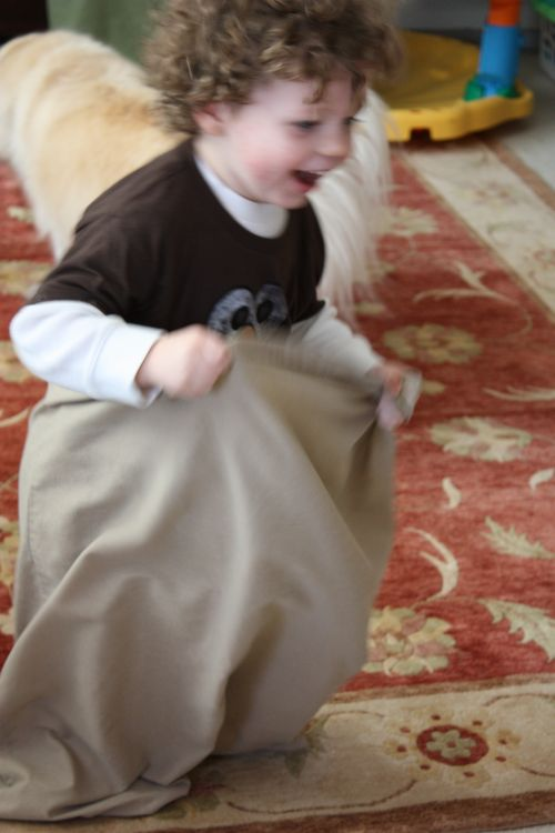 Isaac in potato sack race