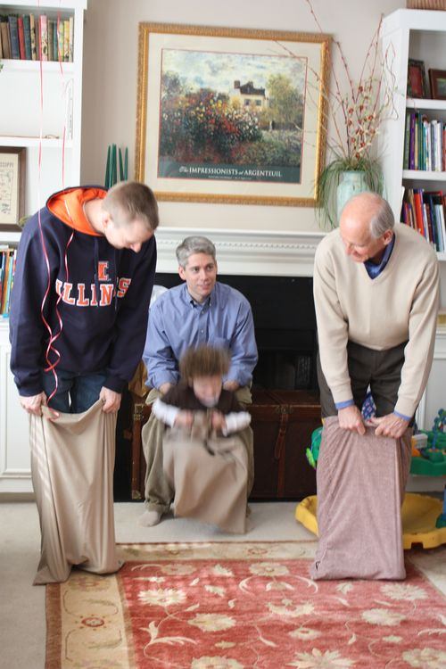 Potato Sack Race - Scot, Michael, Isaac, & Granddad