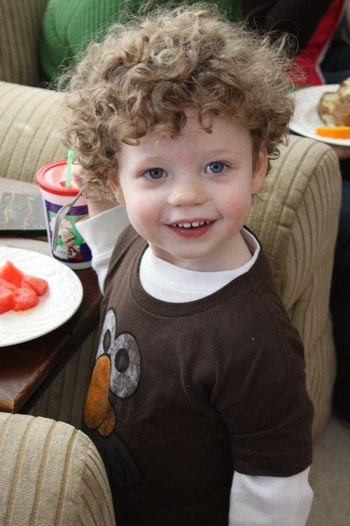 Isaac eating watermelon