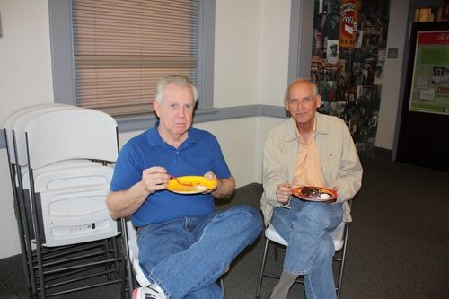 Isaac's grandfathers eating cake