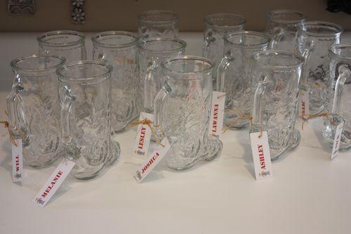 Glass boot mugs