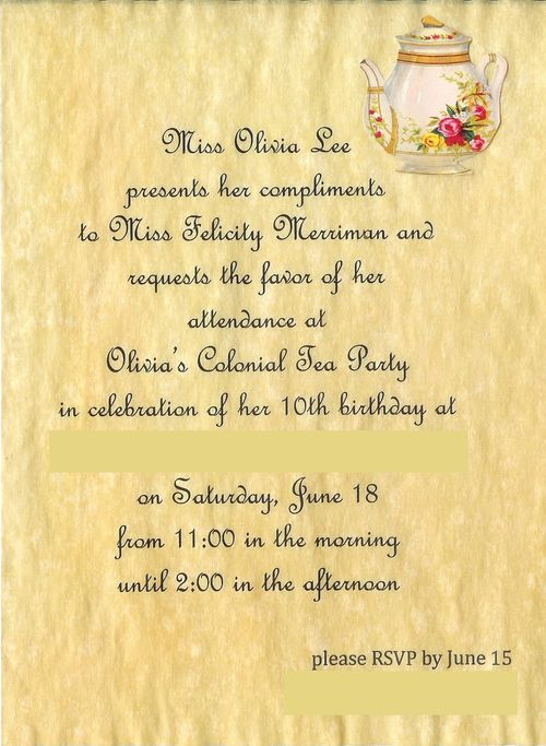 Colonial tea party invitation