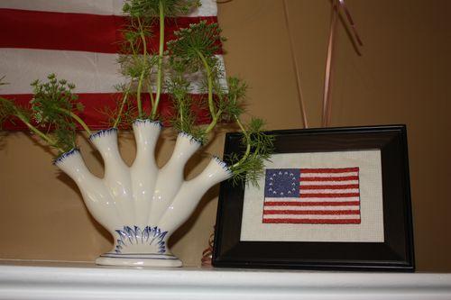 Finger Vase and Olivia's Cross Stitch Betsy Ross Flag