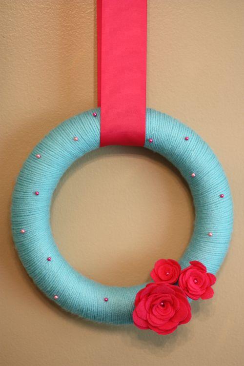 Yarn Wreath made by Olivia