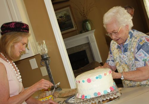 Olivia's Grandma and Great-Grandma preparing tea sandwiches