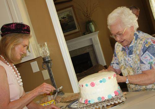 Olivia's Grandma and Great-Grandma preparing tea sandwiches