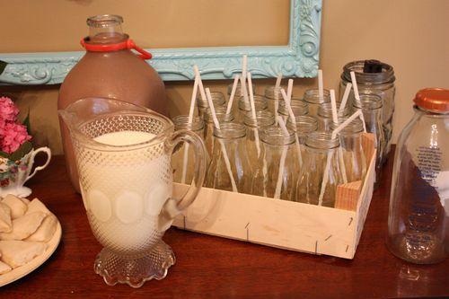 White Skim Milk and Chocolate Milk with Milk Bottles
