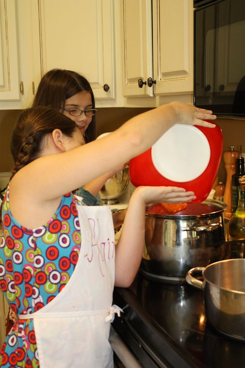 Pouring Strawberries into the pot