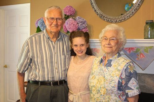 Olivia with her Great-Granddad and Great-Grandma