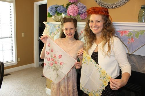 Olivia and I displaying our personal favorite vintage hankies