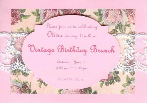 Vintage Birthday Brunch Invitation