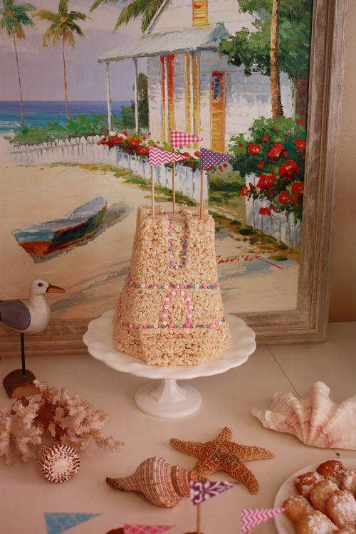 Sand castle rice krispie treat