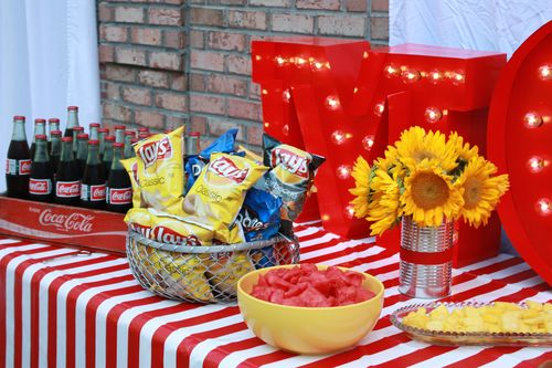 Cokes, chips, and fruit