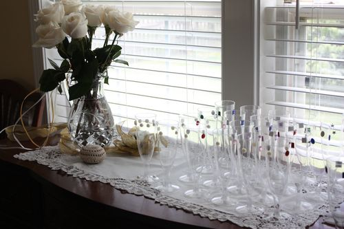 Buffet table with jeweled glasses
